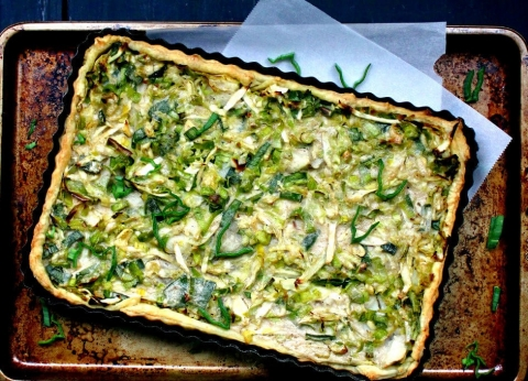 cabbage leek potato tart