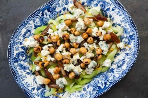 celery blue cheese hazelnut salad
