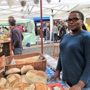Better Health Bakery stall Deborah at Growing Communities farmers' market
