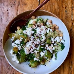 charred leek salad chickpeas feta