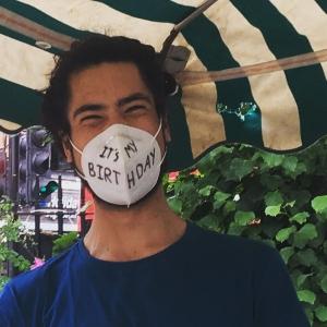 farmer wearing face mask
