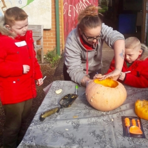 carving pumpkins at Dagenham Farm