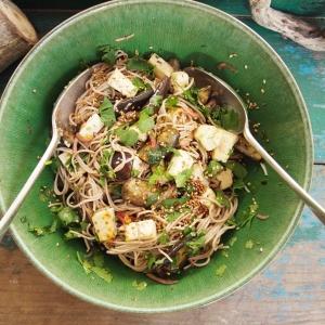 aubergine soba noodle salad