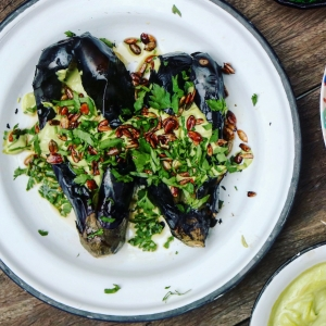 Burnt aubergine with tahini