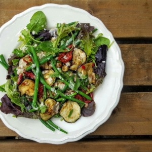 aubergine french bean salad