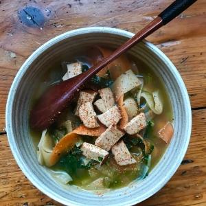 black radish shitake noodle soup