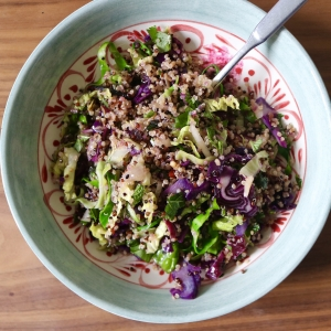 red cabbge spring greens quinoa salad