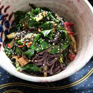 black rice noodles rainbow chard kali mann organic vegan