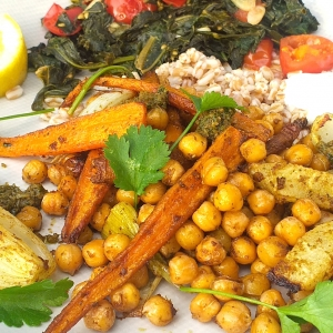 chermoula roast carrot kohlrabi chickpea