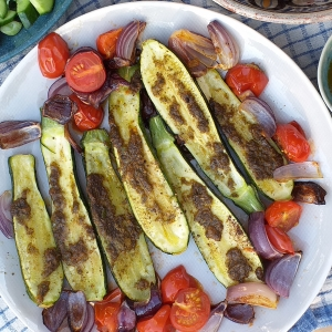 chermoula roast courgettes