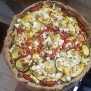 summer squash courgette tart
