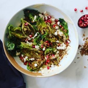 Grilled lettuce tahini salad