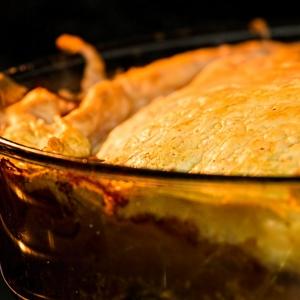 Sausage, leek and apple pie