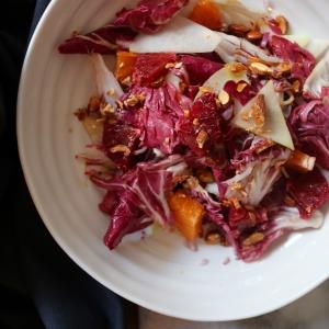radicchio, blood orange, kohlrabi, almond salad