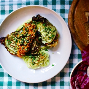 roast cabbage romesco picada seasonal veg box recipe