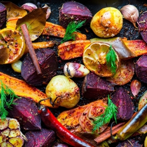 roast veg tray bake