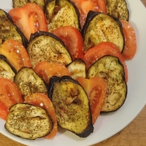 roasted aubergine and tomato salad