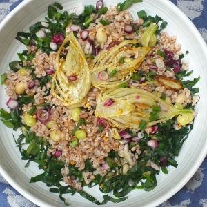 spring greens spelt fennel salad