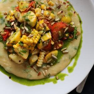 Summer vegetable polenta jalapeno oil