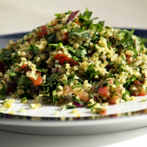 tabbouleh with parsley tomato and cucumber